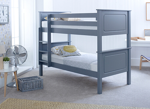 Bedmaster Ashley Grey Bunk Bed - Single (3' x 6'3)