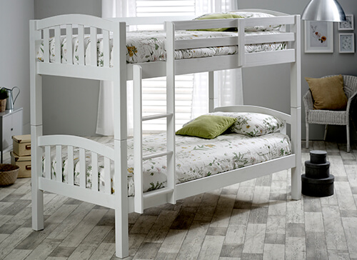 Bedmaster Mya White Bunk Bed - Single (3' x 6'3)