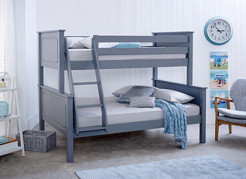 Bedmaster Ashley Grey Triple Sleeper Bed - Small Double (4' x 6'3