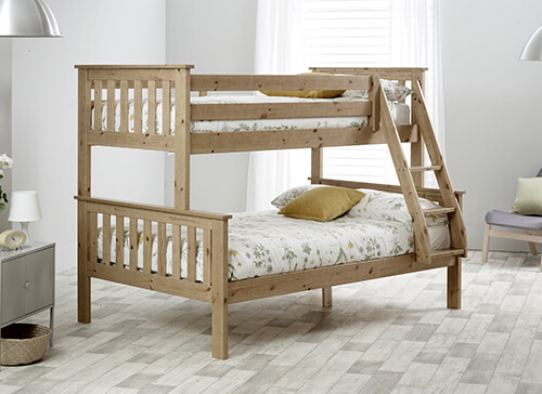 Bedmaster Carra Pine Triple Sleeper Bed - Small Double (4' x 6'3