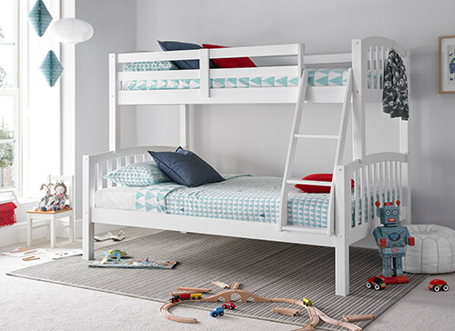 Bedmaster Mya White Triple Sleeper Bed - Small Double (4' x 6'3