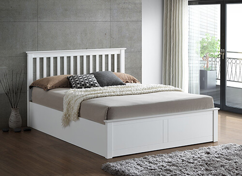 Bedmaster Malmo White Wooden Ottoman Bed - Small Double (4' x 6'3