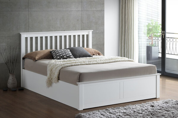 Bedmaster Malmo White Wooden Ottoman Bed