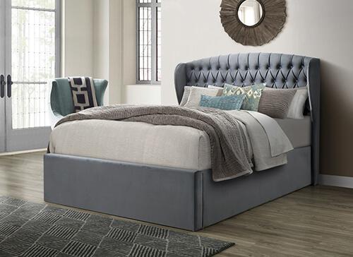 Bedmaster Warwick Grey Velvet Ottoman Bed - Double (4'6