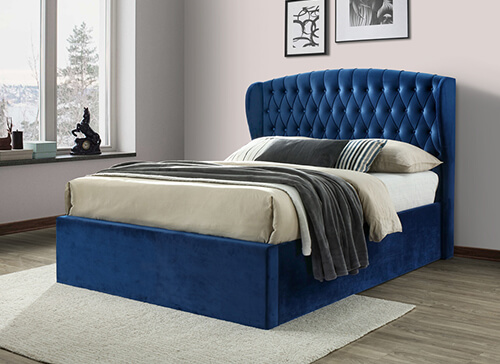 Bedmaster Warwick Blue Velvet Ottoman Bed - Double (4'6
