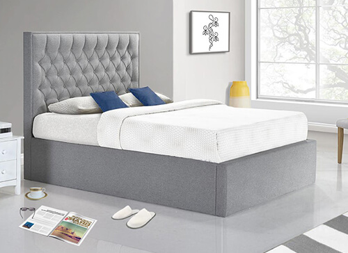 Bedmaster Wilson Grey Fabric Ottoman Bed - Double (4'6