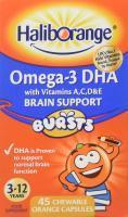 Haliborange Omega 3 DHA Brain Support Burst Capsules Orange 45 chewable capsules