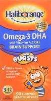 Haliborange Omega 3 DHA Brain Support Burst Capsules Orange 90 chewable capsules