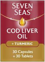 Seven Seas Cod Liver Oil Plus Turmeric, 30 Capsules + 30 Tablets