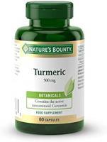 Nature's Bounty Turmeric 500 mg Capsules - Contains curcumin - Fat Soluble - Vegan - Orange, Pack of 60