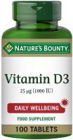 Nature's Bounty Vitamin D3 25 µg (1000 IU) Tablets - Pack of 100 Tablets