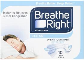 Breathe Right Nasal Strips (Clear) - 10 Large Strips