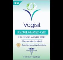 Vagisil Bladder Weakness Care 2-In-1 Fresh & Gentle Wipes - 12 Wipes