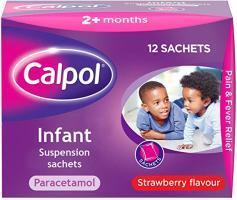 Calpol Infant Suspension Sachets - 12 Sachets (Strawberry Flavour)