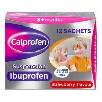 Calprofen Oral Suspension Ibuprofen - 12 Sachets (Strawberry Flavour)