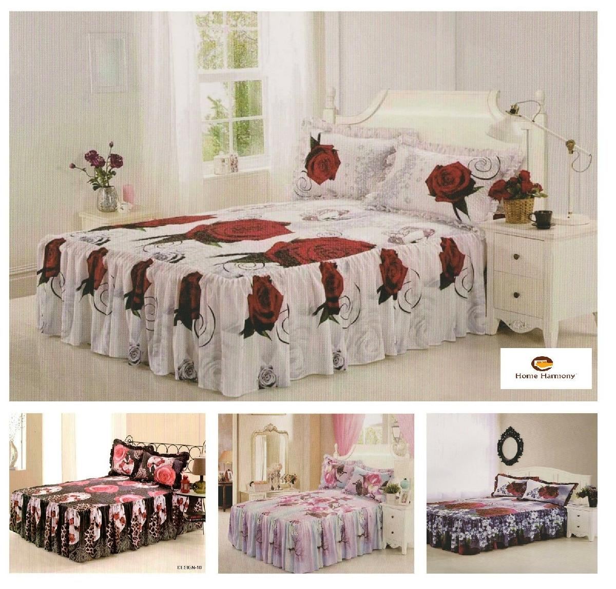 """4 Designs 3D Effect Quilted Fitted Bedspread With A 21/"""" Frill /& 2 Pillow Shams"""