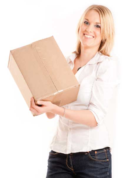 Lady with Cardboard Box