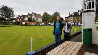Tom and Mike at the bowling club