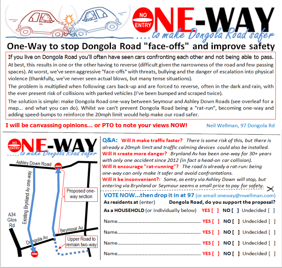 Dongola Road One-Way Leaflet