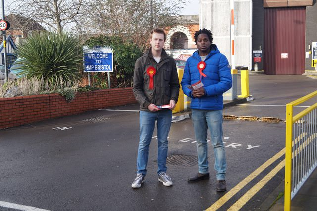 Tom and David in front of HMP Bristol