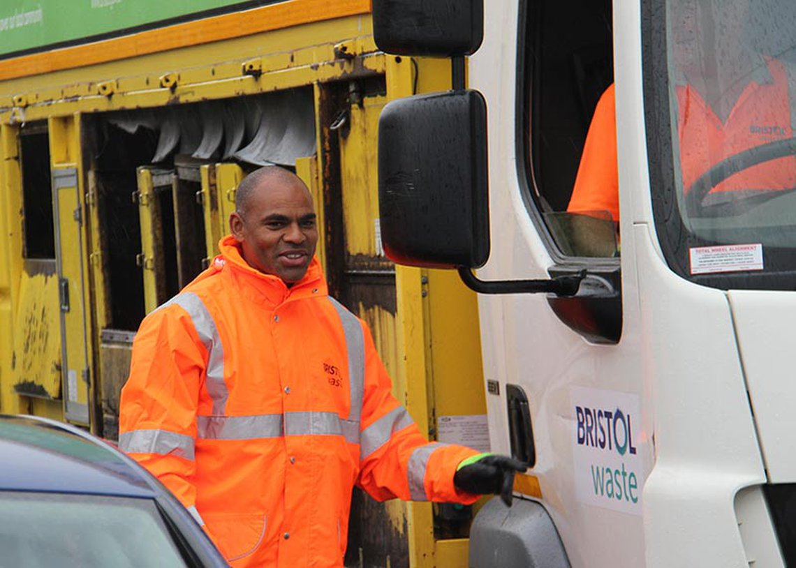 Marvin Rees helps out on a Bristol Waste Company collection
