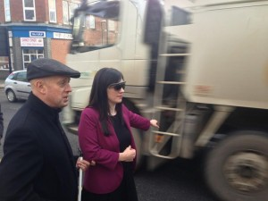 Bridget Phillipson MP swaps with a blind bus user to experience what it is like to hail a bus