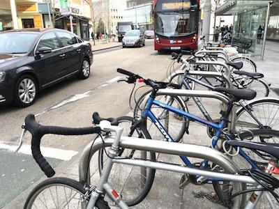 Bus, car and bike