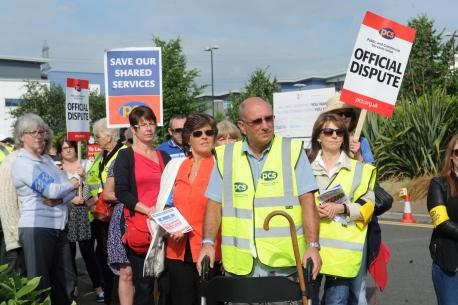 South Wales Argus: Ministry of Justice workers at a picket line protest about possible job losses (7662573)