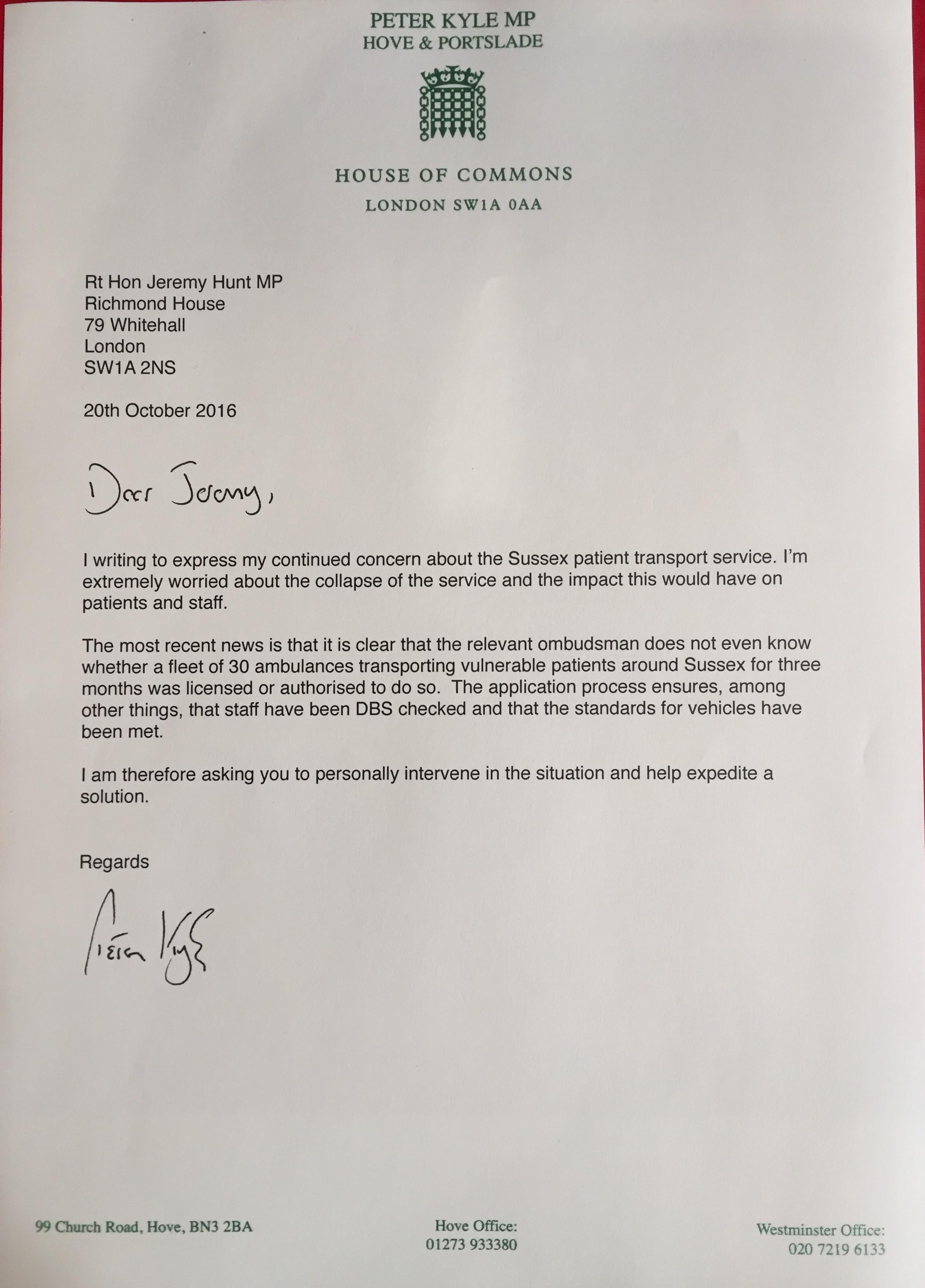 Hunt Letter