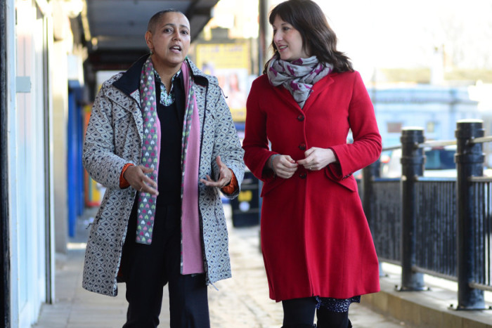8 Jan 2016.....MP Rachel Reeves and Cllr Alison Lowe on Armley Town Street discuss how tackle street drinking issues amid claims it has become a booze fuelled 'no go zone' for locals. Picture Scott Merrylees