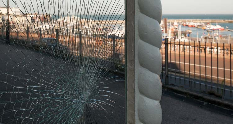 smashed glass on a Ramsgate clifftop shelter