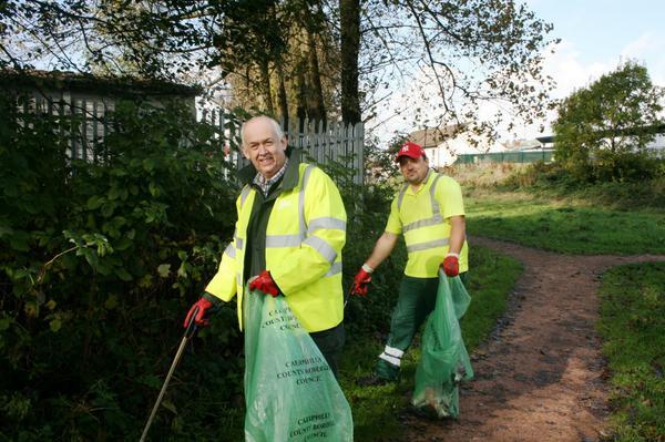 Wayne David doing a litter pick