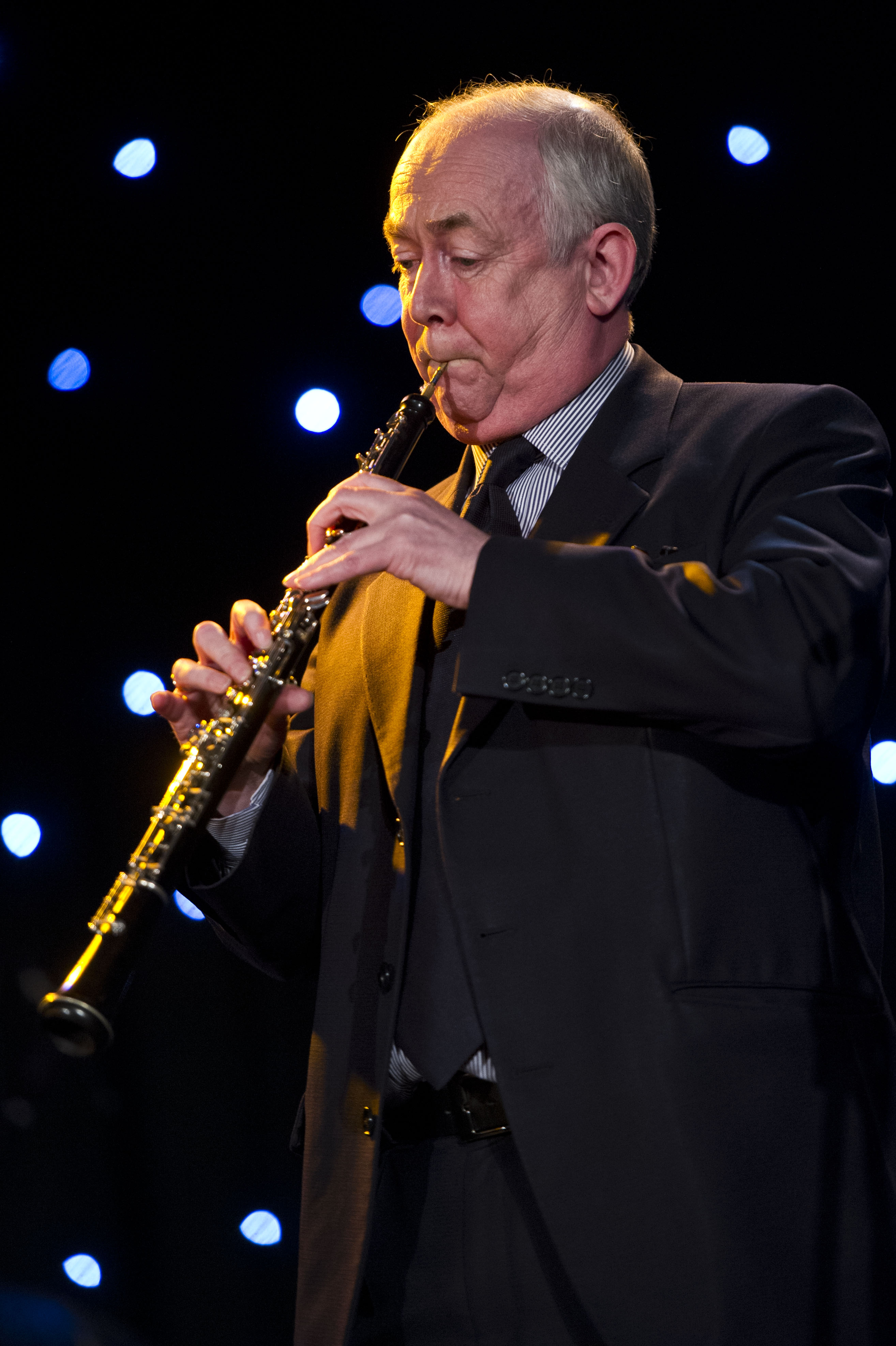Wayne David playing the oboe