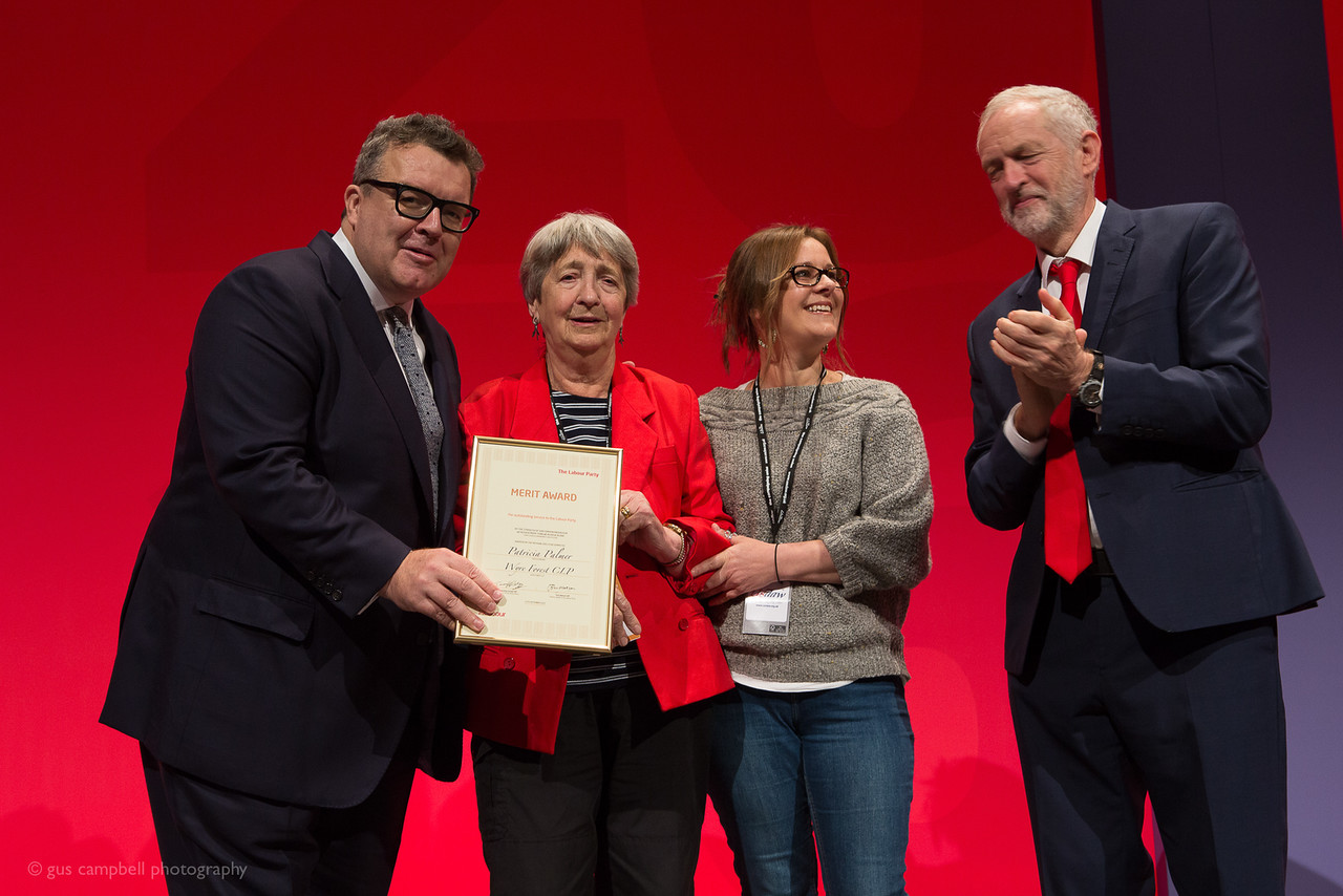Tom Watson, Labour Deputy Leader, Patricia Palmer, her daughter Saskia and Labour leader Jeremy Corbyn. PHOTO: GUS CAMPBELL PHOTOGRAPHY