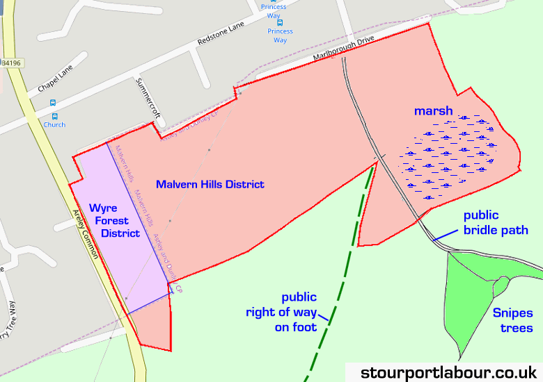 Map showing proposed housing site, outlined in red.