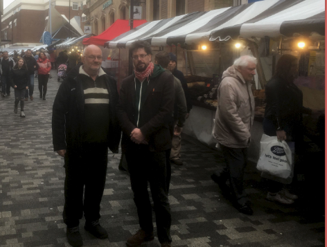 Nick Savage, Kidderminster Market Trader (left) with Stephen Brown, Wyre Forest Labour (right)