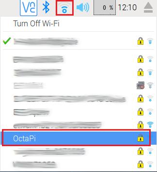 Cliquez sur le symbole Wifi