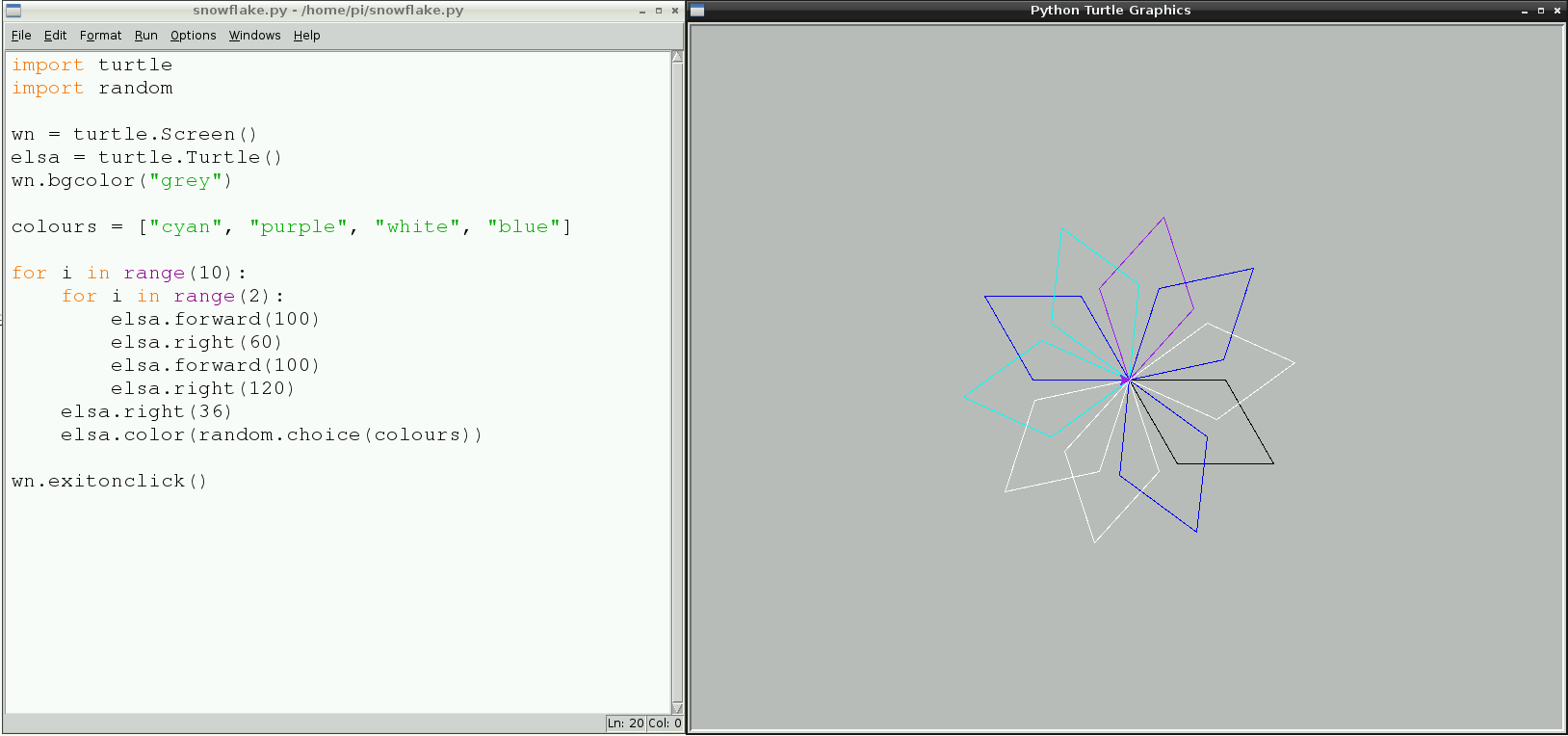 Save And Run Your Code For A Multi Coloured Snowflake