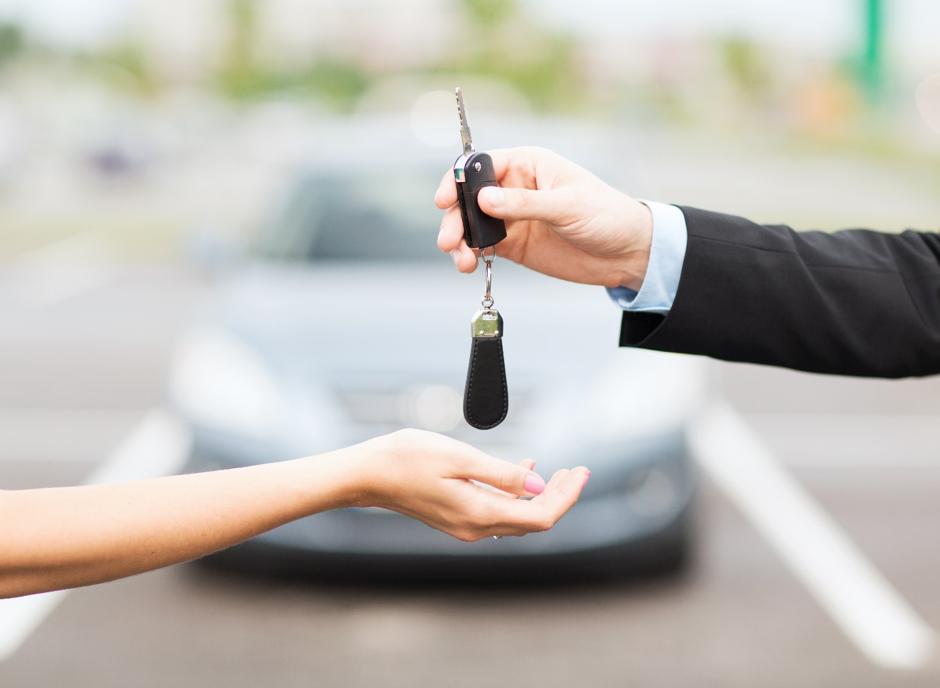 Handing over new car keys