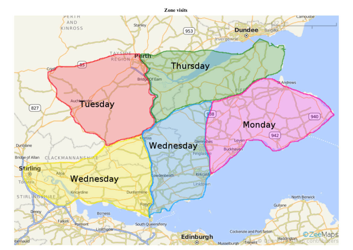 Map of Zones Visited through week