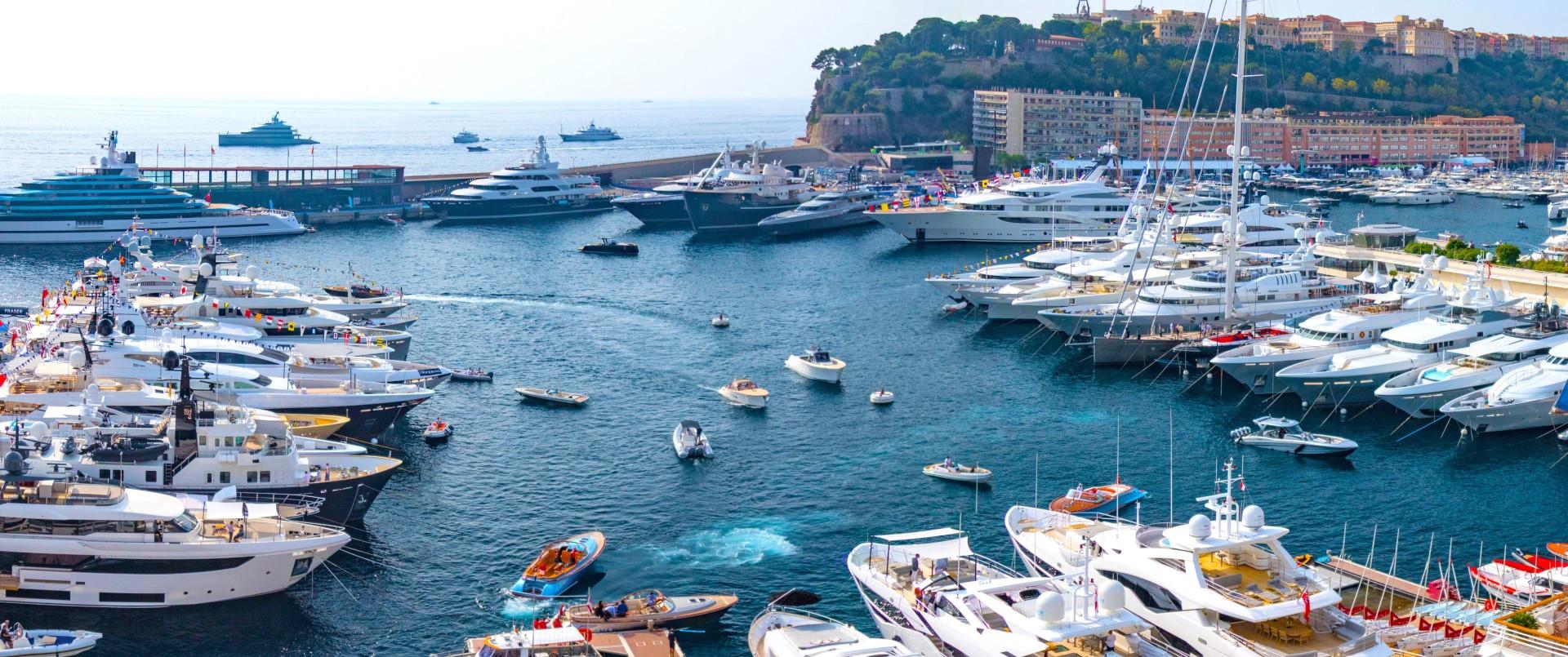Yachts in marina at Monaco Yacht Show