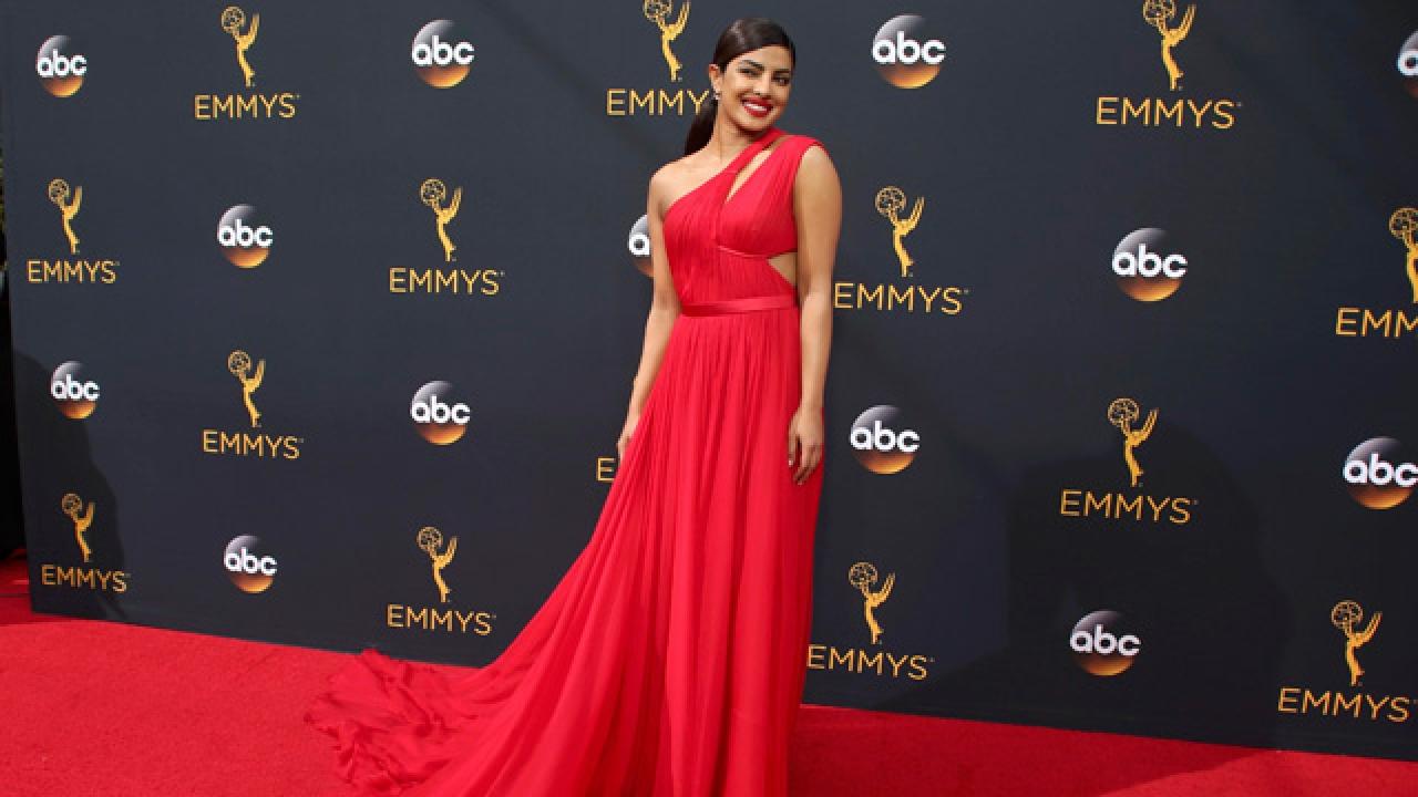 Celebrity on red carpet at The Primetime Emmy Awards