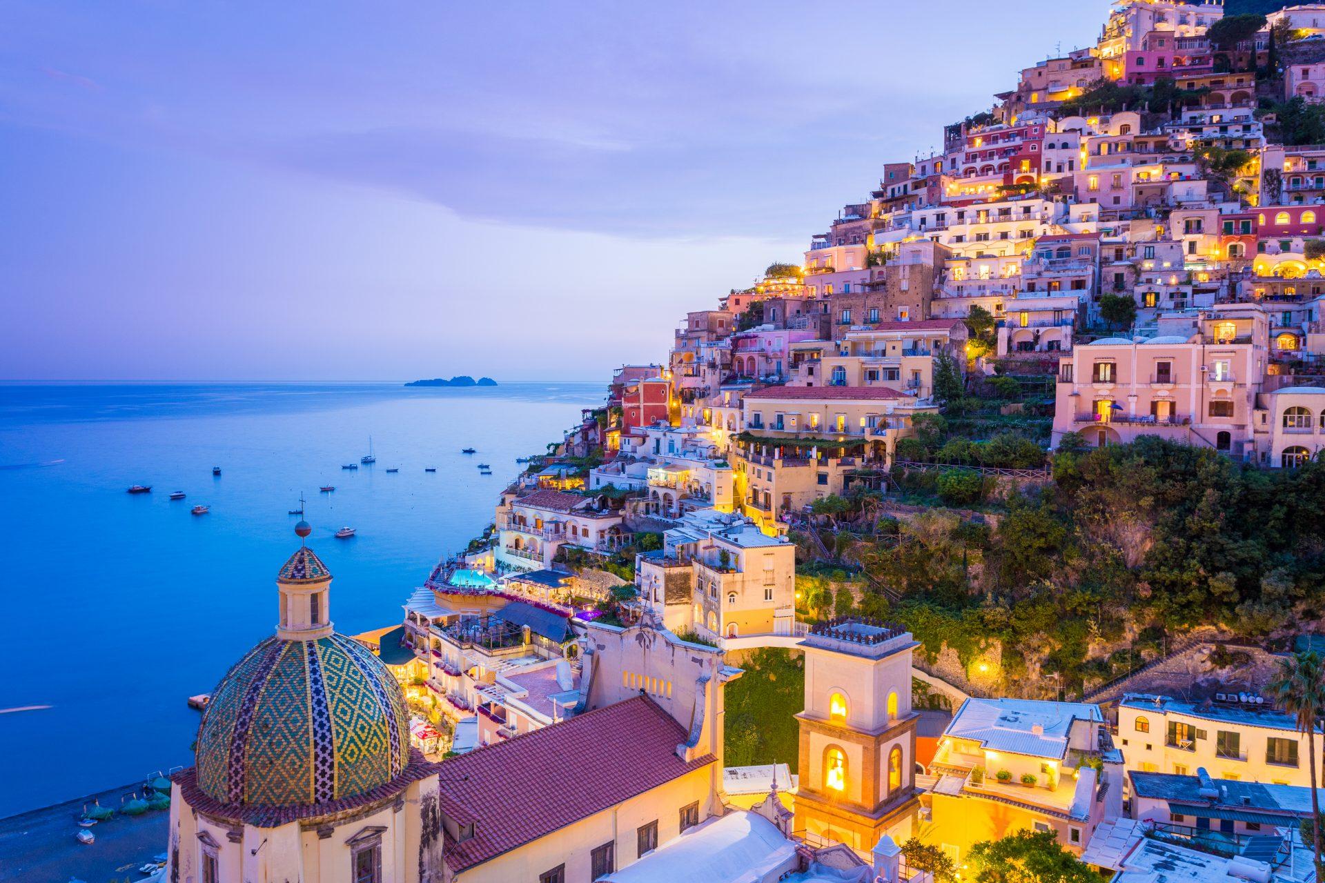 amalfi coast cruise coloured houses and sea views