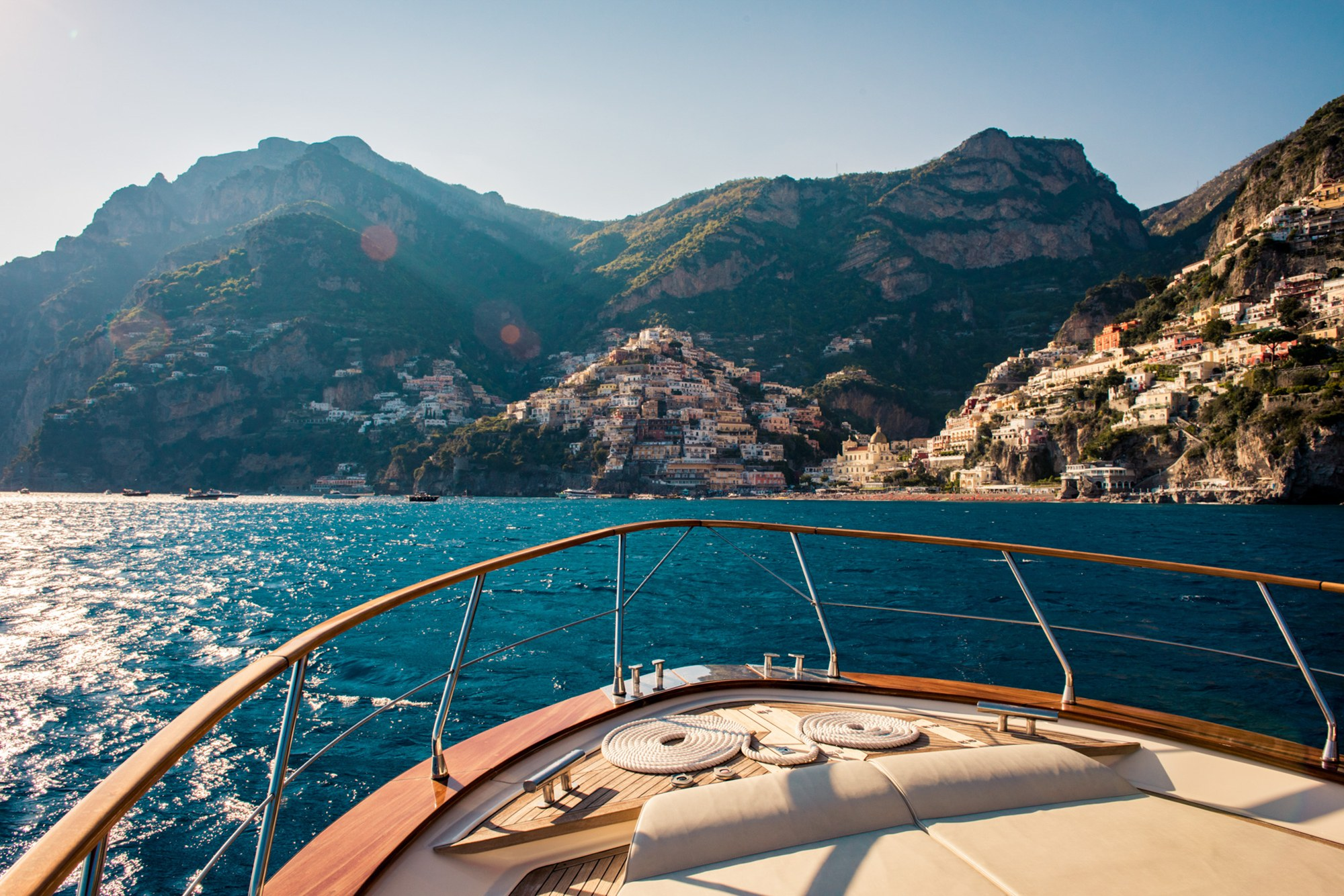amalfi coast view from from of yacht on cruise
