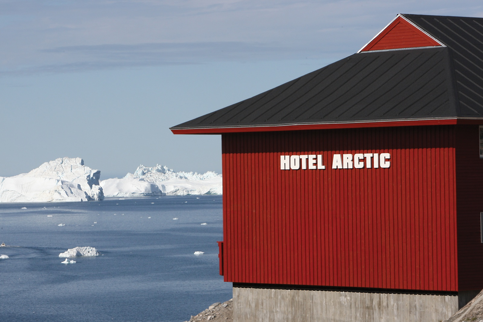 Hotel Arctic overlooking ice fjords