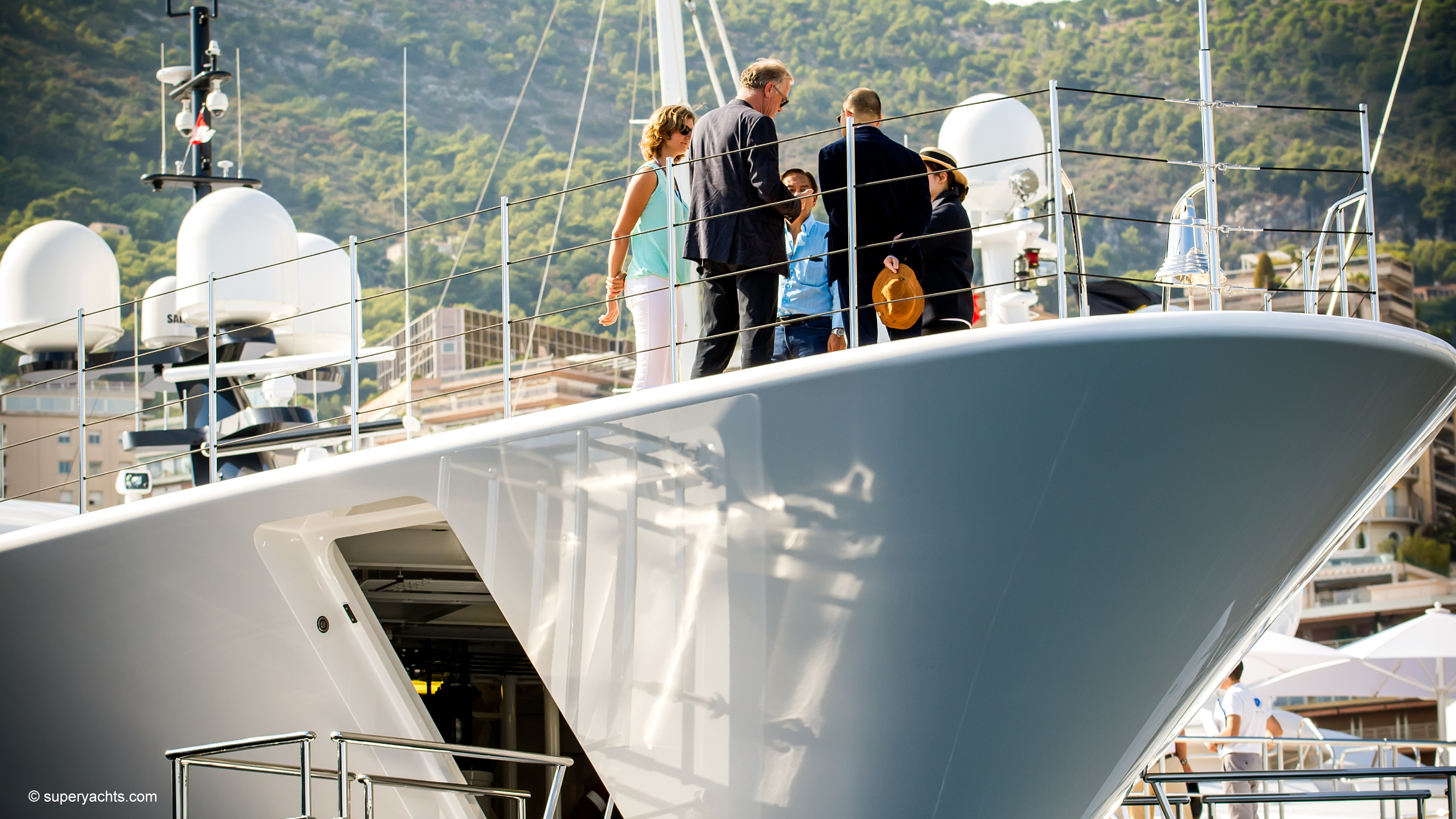 People viewing super yachts at Monaco Yacht Show