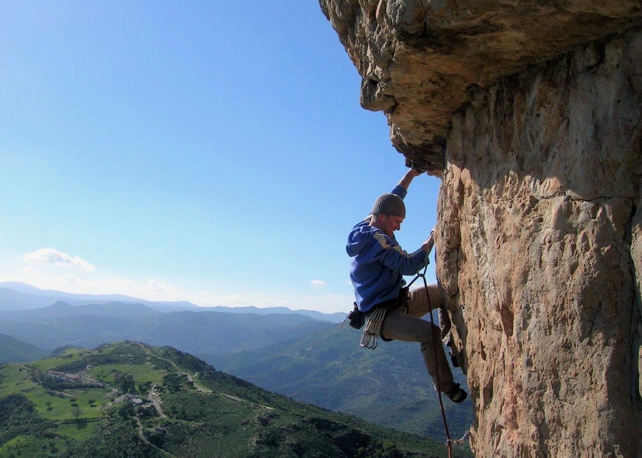 Man rock climbing in Sardinia