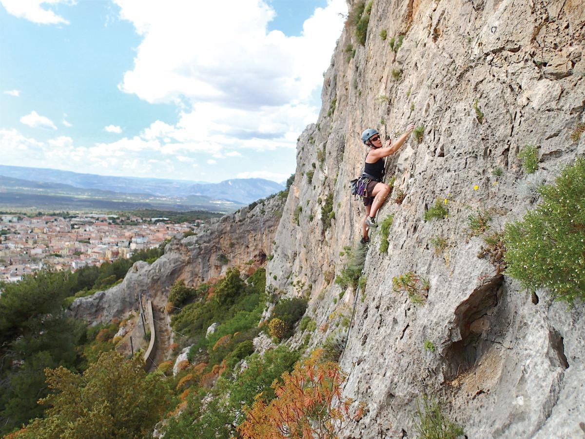 Women rock climbing in Sardinia