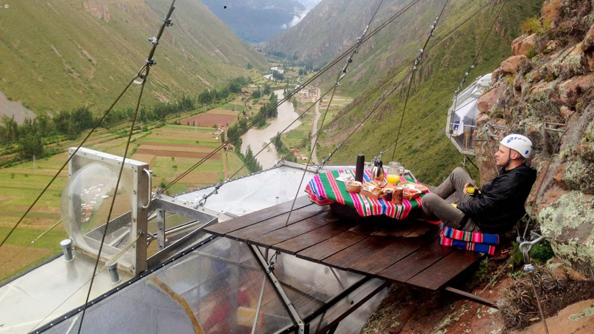 Man having breakfast at Skylodge Adventure Suites