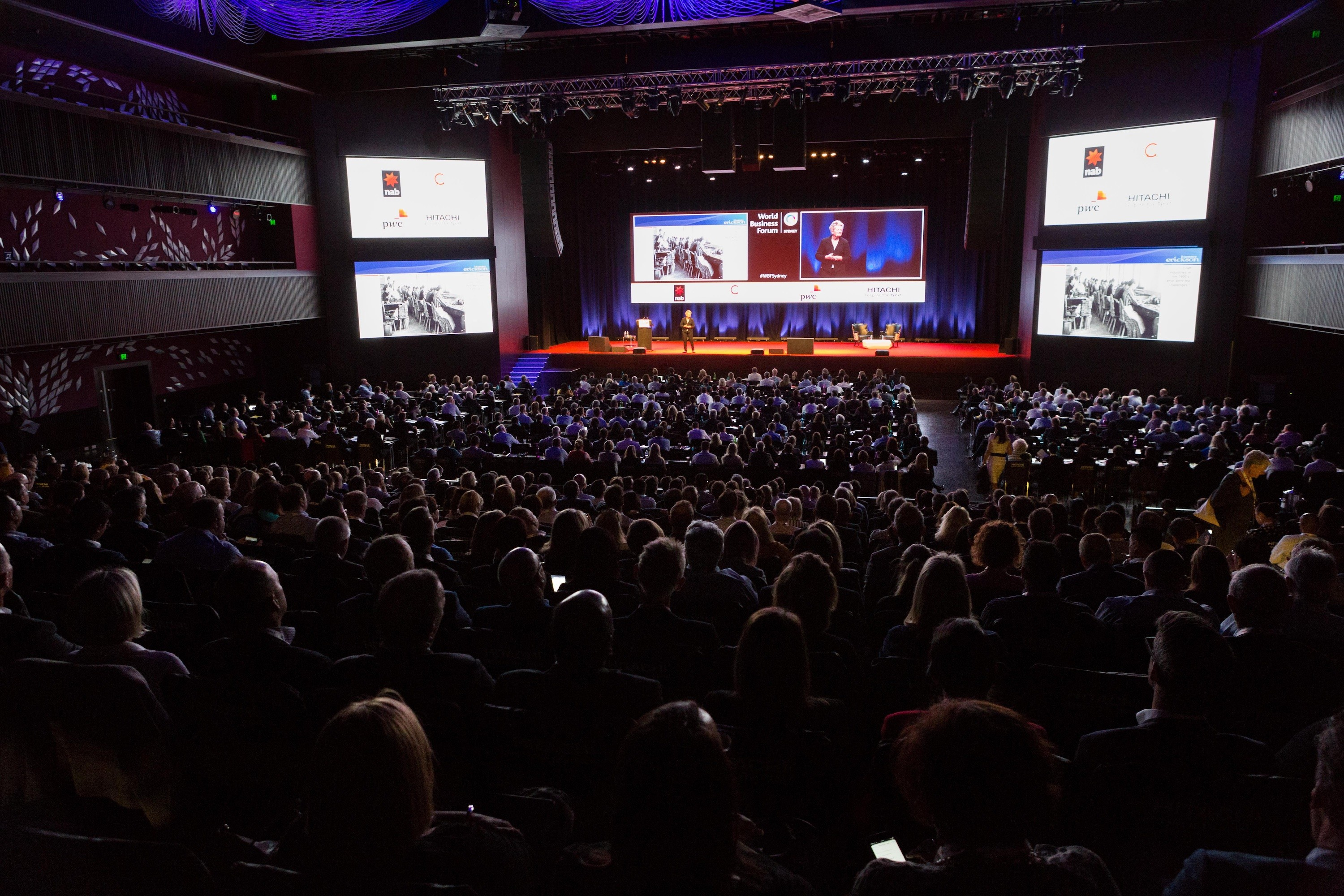 Audience looking at WOBI World Business Forum stage